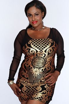 Black Gold Metallic Print Sexy Dress |Plus size clubwear|Plus size ...
