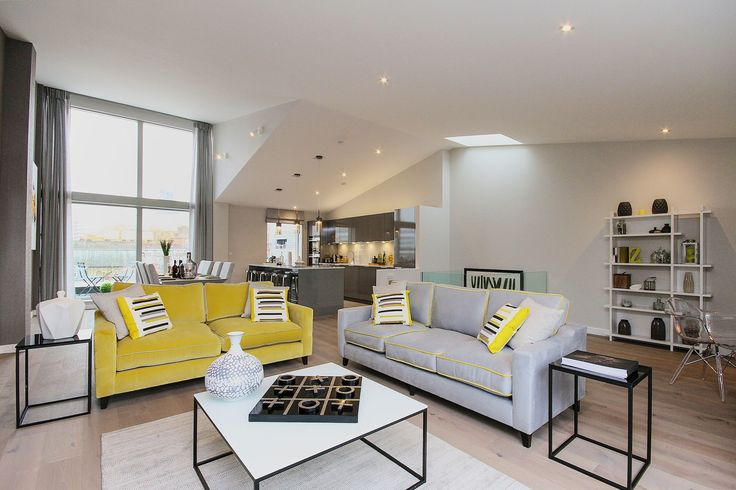 Take a look at this contemporary scheme we installed in an old factory conversion in London's Southbank. Bold lines and shots of chartreuse really make the most of all that natural light pouring in through double height windows. See more of our interior design projects at http://www.janeclayton.co.uk/design-service/
