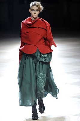 Red and Teal. Yohji Yamomoto.  pinned by www.auntbucky.com  #red #teal #color