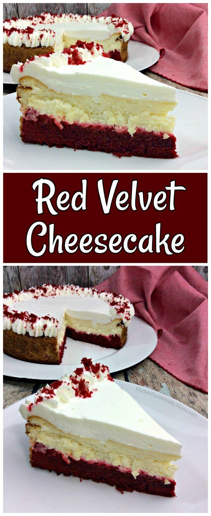 Delicious homemade Red Velvet Cheesecake recipe. #cheesecake #redvelvet