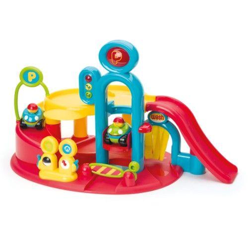 grand garage sonore et lumineux ptitbolide oxybul pour enfant de 3 ans 8 ans prix promo jouets. Black Bedroom Furniture Sets. Home Design Ideas