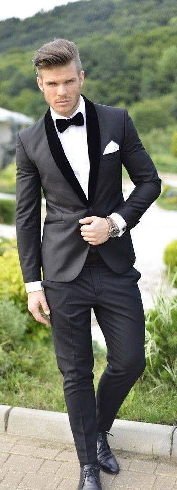 Gentleman style ... black & white style, black suit, white shirt, bow tie, black shoes and watches.