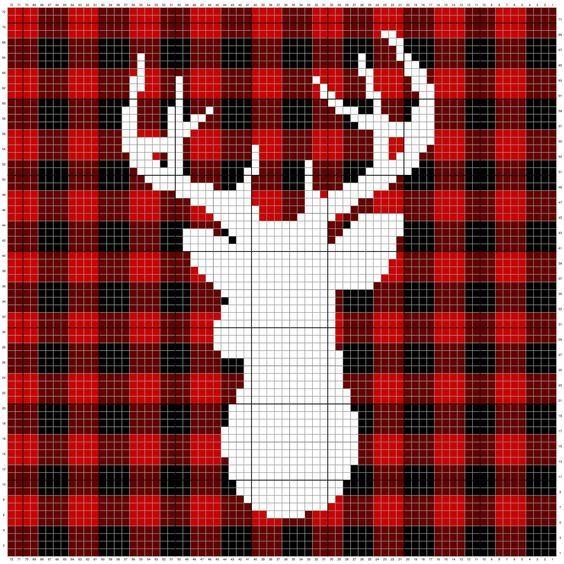 Farmhouse Plaid Deer Crochet Pillow Cover Free Pattern