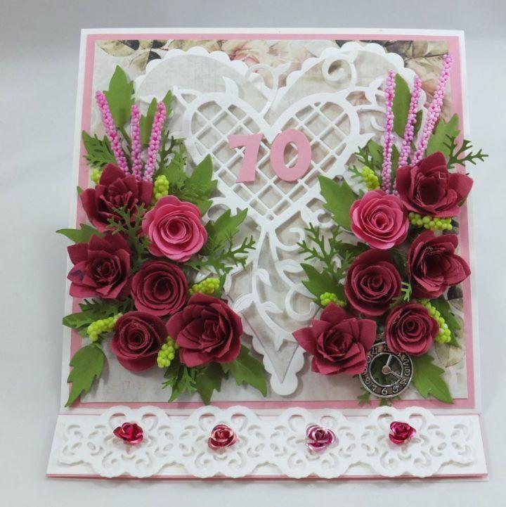 kartka ręcznie robiona, życzenia,imieniny, urodziny, ślub, komunia, chrzest, roczek, wykrojnik  (35), Easel card with flowers