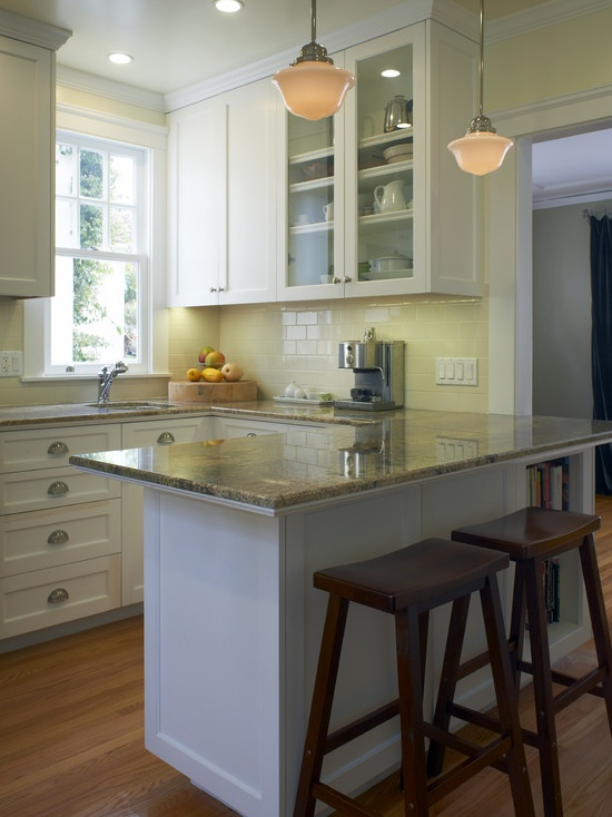 Kitchen peninsula with 2 stools a real fixer upper for Small kitchen peninsula ideas