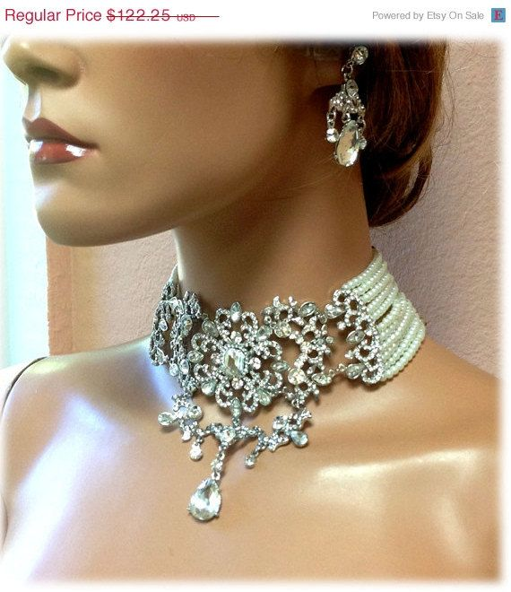 Statement Jewellery Bridal Jewellery Set Necklace Choker Clip Clips Pearls White Flower Earrings Clip Earrings with Clear Crystals iCmsCqBOP