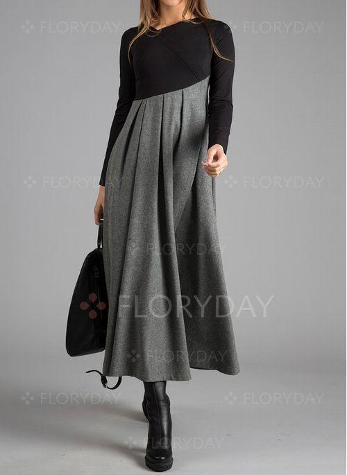 Dress – $53.99 – Color Block Ruffles Long Sleeve Midi A-line Dress (1955359032)