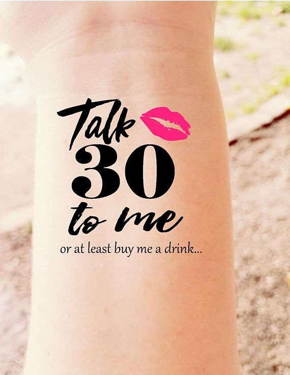 30th Birthday Party Temporary Tattoos Talk Thirty to Me Dirty