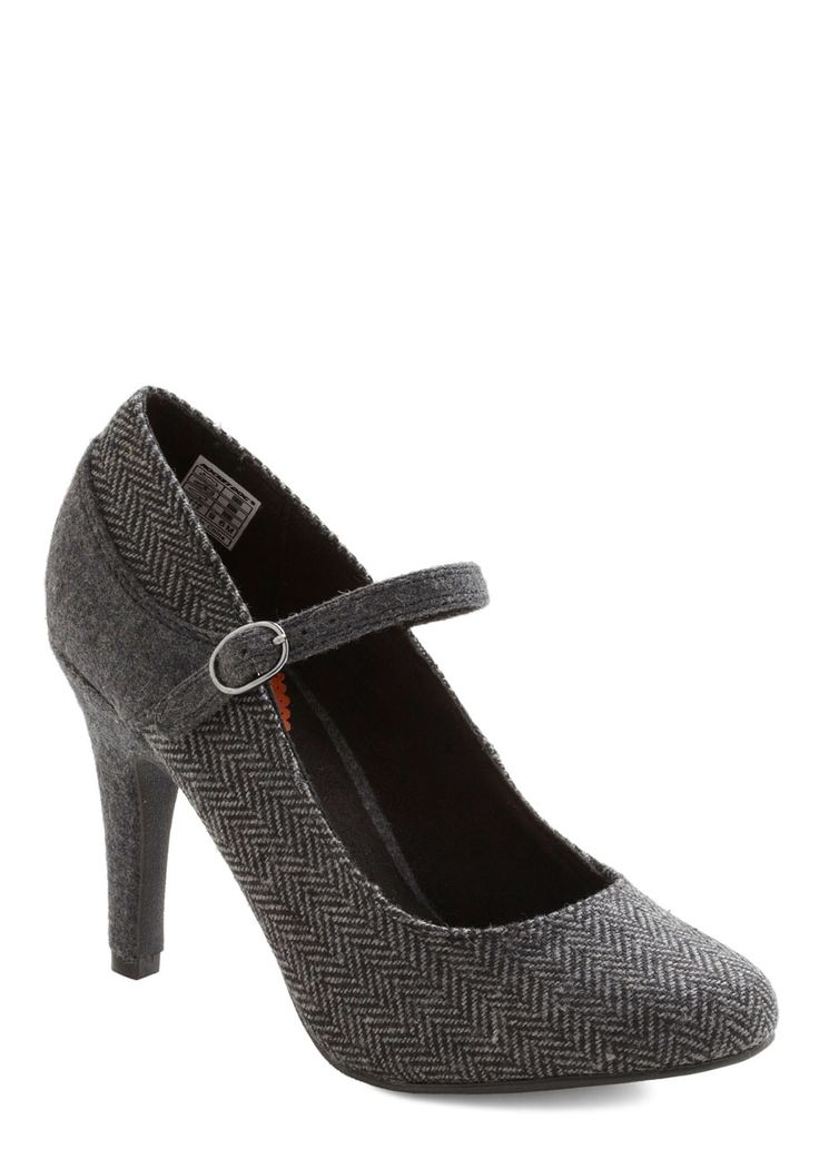 Office to a Good Start Heel - Grey, Herringbone, Work, Film Noir, Mary Jane, Mid, Tis the Season Sale