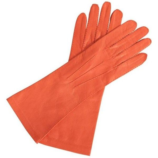 Preowned Chanel Orange Lambskin Gloves, Never Used (595 PAB) ❤ liked on Polyvore featuring accessories, gloves, chanel, jewelry, orange, lambskin gloves, lambskin leather gloves, karl lagerfeld, karl lagerfeld gloves and orange gloves