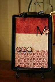 Magnetic cookie sheet board. Made one for Joules, but way more colorful and added ribbon to hang it with.