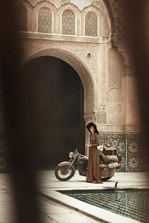 Young lady with her motorcycle in Morocco | US Vogue's June 2013 shoot by well known photographer Peter Lindbergh.