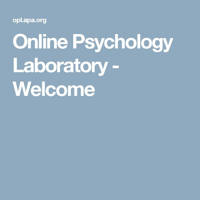 Online Psychology Laboratory - Welcome