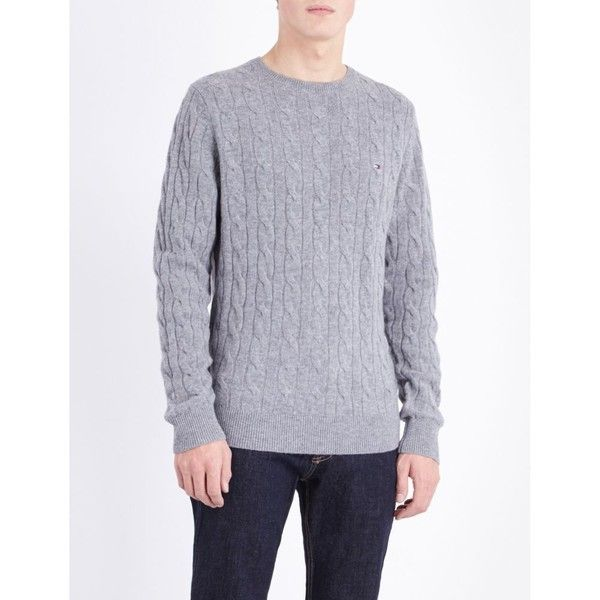 Tommy Hilfiger Crewneck wool-blend jumper ($120) ❤ liked on Polyvore featuring men's fashion, men's clothing, men's sweaters, american eagle mens sweaters, mens crew neck sweaters, mens crewneck sweaters, mens cable sweater and mens cable knit sweater