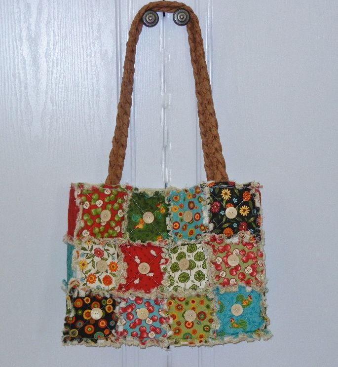 Shabby Chic tote bag - patchwork tote bag, fully lined and washable.  Made from 100% cotton fabric.  Size in inches : 15L x 12H.