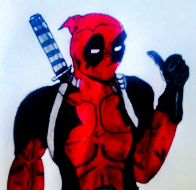 A pic of Deadpool I drew while in class last year, my time on my business course was clearly well spent 👍
