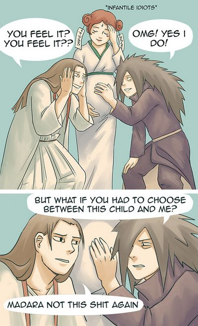 Anime/manga: Naruto (Shippuden) Characters: Hashirama, Mito, and Madara, Seems fitting to these two dorky but awesome characters xD.