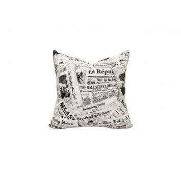 The Daily News Fabric Scatter Cushion has a collage of printed newspaper clippings printed and is completed unicurl cushion inner.