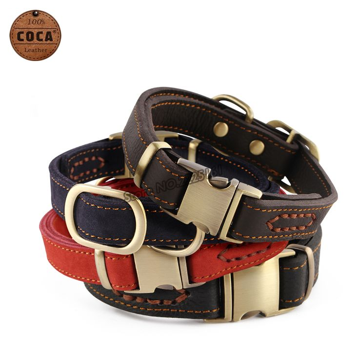 2016 COCA Brand Genuine Leather Adjustable Pet Dog Collar with Zinc Alloy Buckle  Small Large Dogs Supplies Red Blue Collars //Price: $19.92 & FREE Shipping //     #catoftheday #kittens #ilovemycat #lovedogs #pup