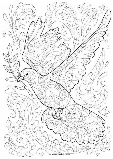 Dove doodle colouring page                                                                                                                                                                                 More