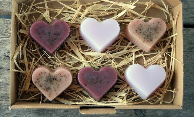 Mydlana bombonierka - serduszka czekoladki mydła - czekoladowe, karmelowe, lawendowe #serce