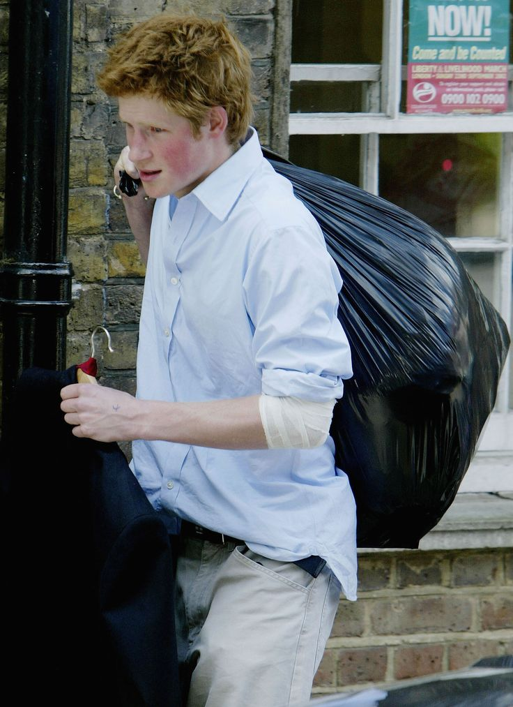 Like any 18-year-old boy, Harry carried out his belongings in a trash bag when he moved out on June 12. (At least he carried the suit on a hanger!) Before enrolling at Sandhurst Military Academy, he took a gap year, too.   - MarieClaire.com