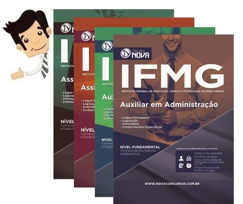 Apostila preparatoria do Concurso do Instituto Federal de Educação, Ciência e Tecnologia de Minas Gerais - IFMG 2016, Cargos Assistente em Administração, Auxiliar de Biblioteca, Assistente de Alunos. e Auxiliar em Administração.  Mais Informações sobre o Concurso:  Vagas: 35 Inscrições: até 05/10/2016 Salário: R$ 1.834,69 a R$ 2.294,81 Taxa de Inscrição: R$ 60 a R$ 120 Provas: 27/11/2016 Organizadora: CEFET