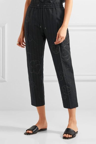 Brunello Cucinelli - Cropped Embellished Pinstriped Wool And Linen-blend Straight-leg Pants - Midnight blue - IT