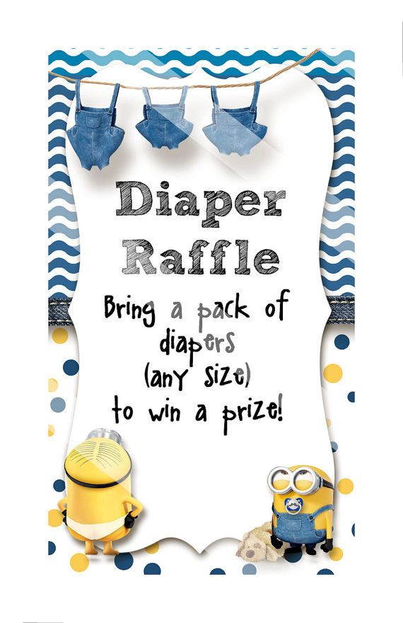 Minion Baby Shower Diaper Raffle by EnvyDigiDesigns on Etsy