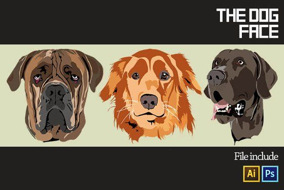 3 Dog Face vector by Gumacreative on @creativemarket