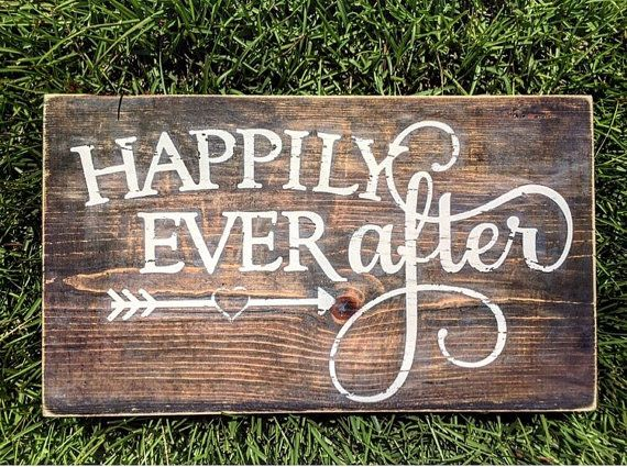 Happily ever after sign Rustic sign Wedding by CoastalCraftyMama