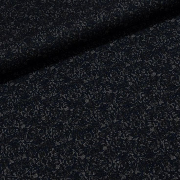Směsový úplet 18537 tmavě modré ornamenty na černé, š.150cm (látka v metráži) | Internetový obchod Chci Látky.cz