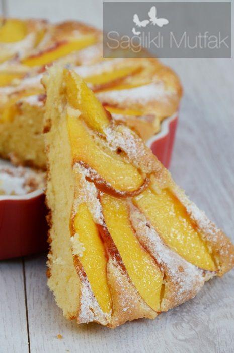 Yağsız Şeftalili Kek – Sağlıklı Mutfak