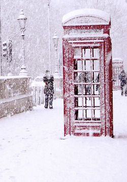 Snowy Day Outside The Red Telephone Booth