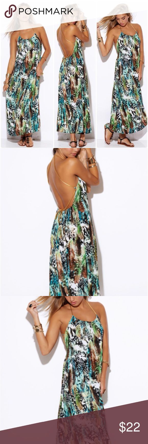 Bermuda Back-Less Maxi Dress Show off your sun-kissed skin with this gorgeous backless maxi dress with gold leatherette straps! This maxi dress has a pretty print, a comfortable fit, and is made of a stretchy fabric. The dress is adjustable with the movement of the straps for the perfect fit for you body. *100% Polyester *Fit: Misses / Stretchy / Flowy / Adjustable Straps Dresses Maxi