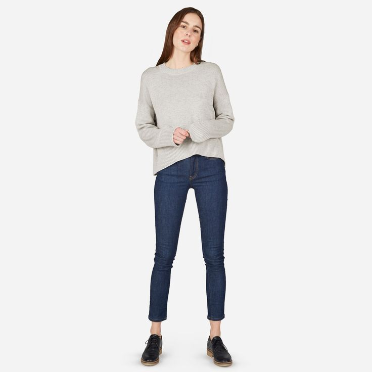 The year-round layer. Our easy cotton sweater has an oversized cropped fit and elegant drape, so you can pair it with pretty much everything in your closet.