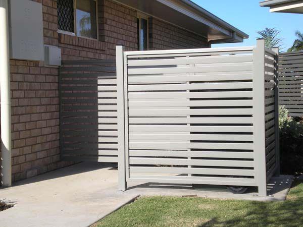 COLORBOND® STEEL rubbish bin screen enclosure with slats in Dune®