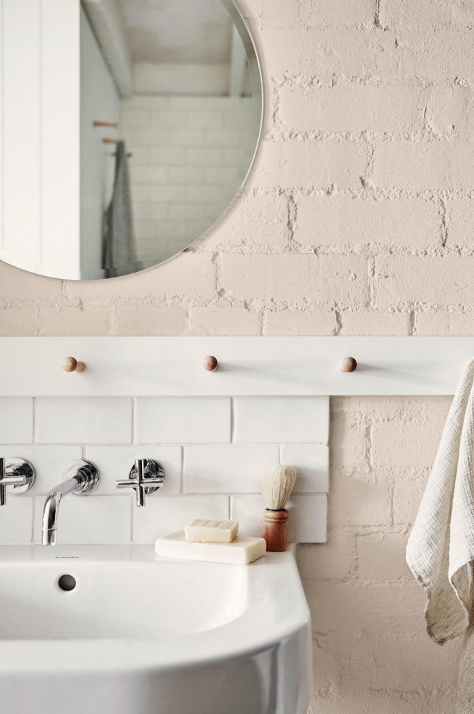 Vintage pink bathroom, home, interior, contemporary, vintage, simple, brick, pink