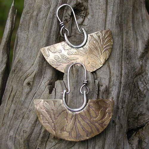 earrings etched bronze by Duffy Designs, via Flickr