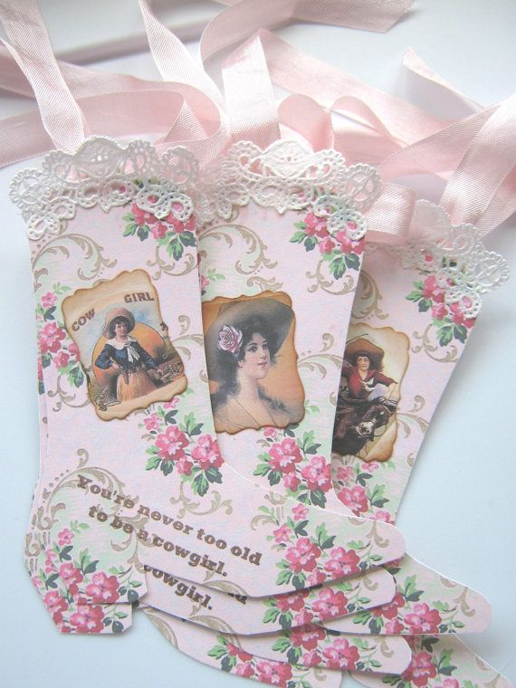 Shabby Pink Cowgirl Boot Gift Tags Cowboy Boot by CharonelDesigns, $5.95