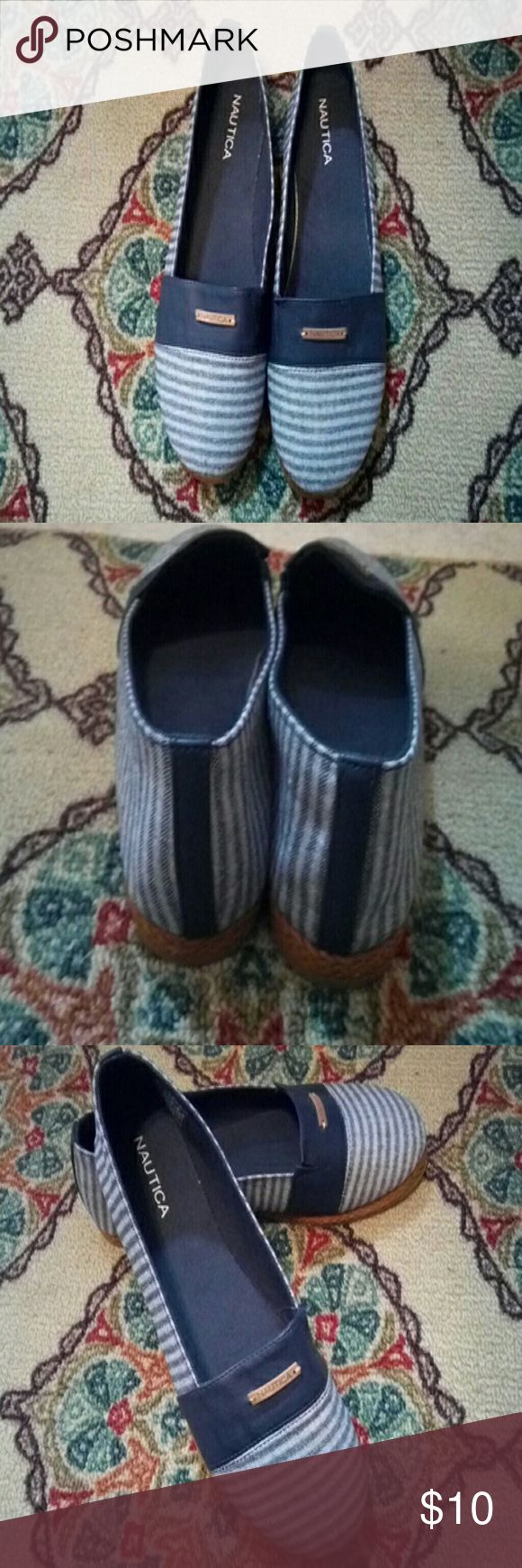 Shoes Let's go boating! Women's Nautica slippers, size 10 Navy and light blue stripe. Nautica Shoes Espadrilles