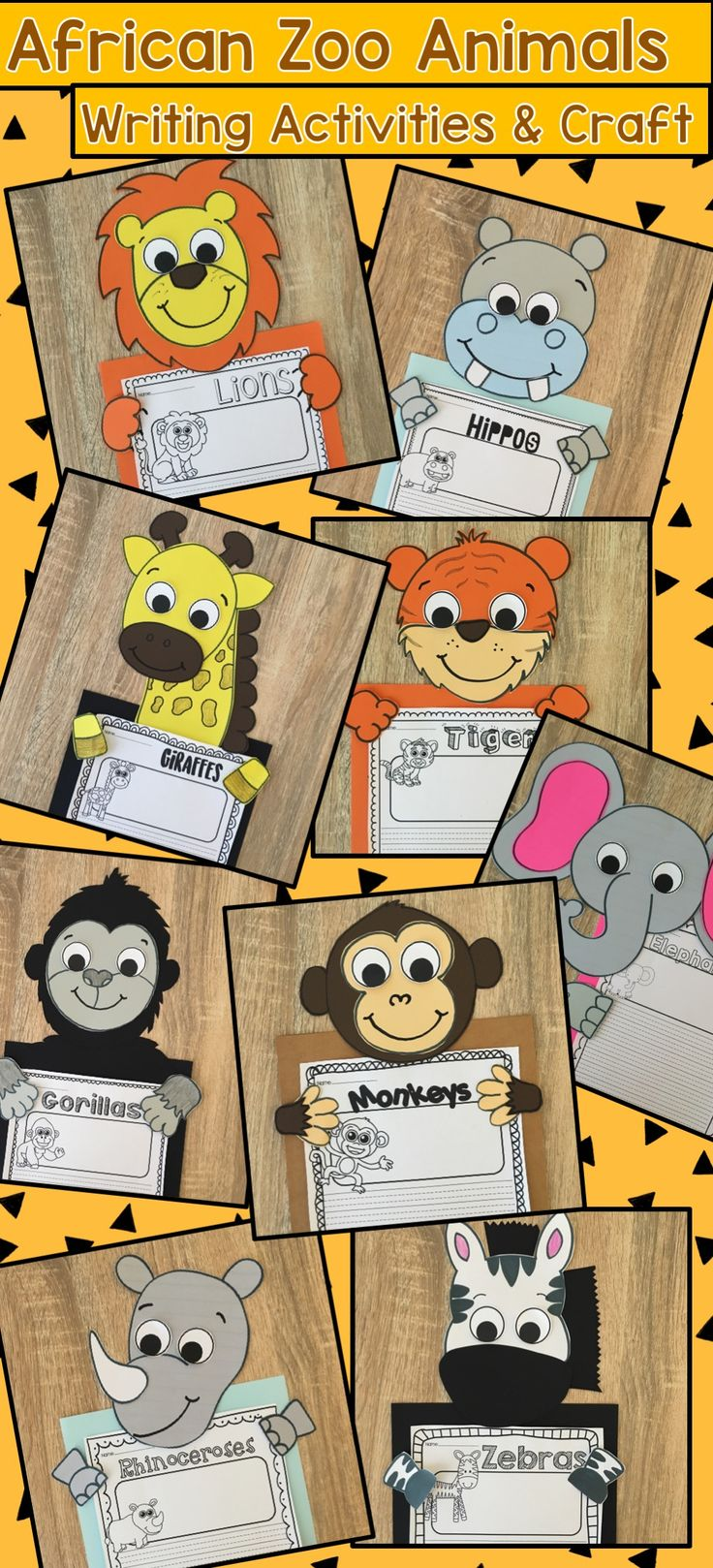 African Zoo Animal Writing and Craft Activities