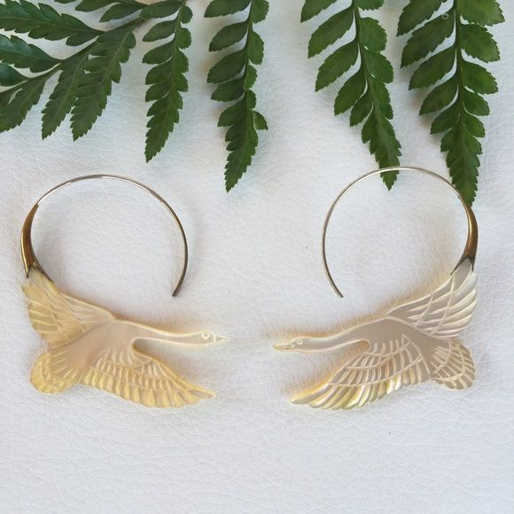 Anthropologie UK NWOT mother of pearl swan earring Beautiful sterling silver and mother of pearl carved swan earrings. Anthropologie UK NWOT Anthropologie Jewelry Earrings