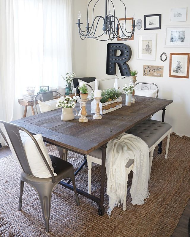45 Beautiful Farmhouse Dining Room Design Ideas Bring Romantic Look Farmhouse Din Rustic Dining Room Table Dining Room Table Centerpieces Kitchen Table Decor