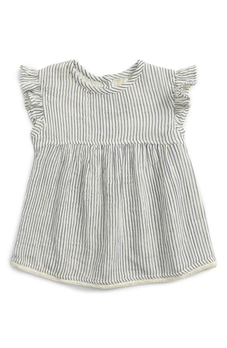 Flutter sleeves and crochet trim add to the sweet charm of this airy top cut from striped cotton gauze.