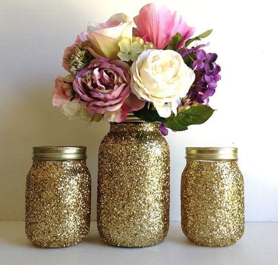 golden yellow mason jars - golden glitter 3 piece mason jar vase and candle holder wedding decor, home decor, bridal shower decor, gift NEW via Etsy