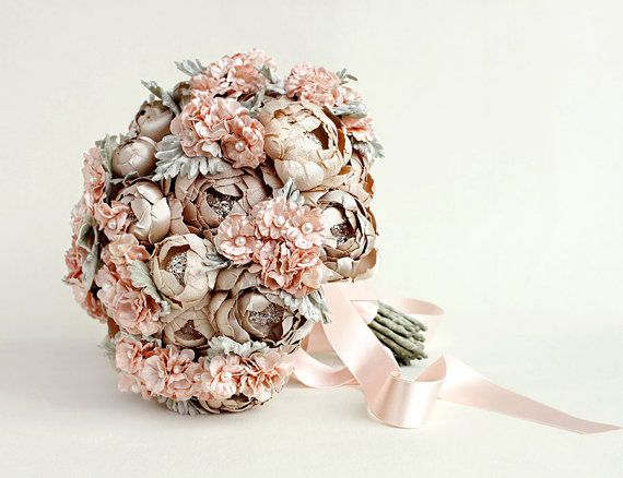 Couture Champagne and Blush Hydrangea Silk Fabric by EmiciLivet