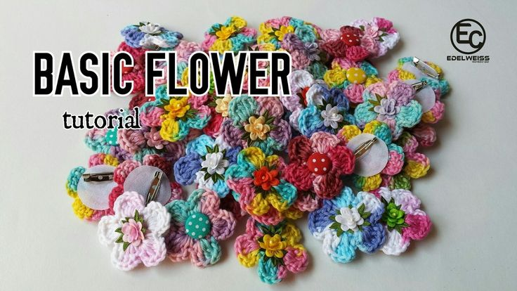 Basic Flower Crochet Tutorial    Bunga Rajut Dasar Mudah EF.01