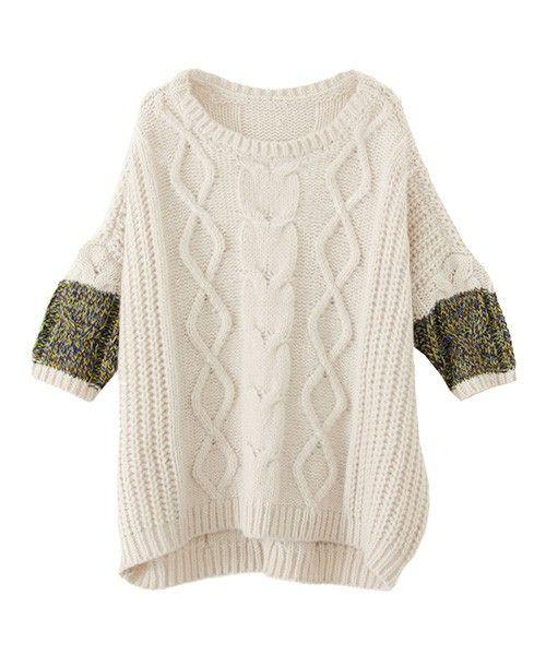 KBF colorful sleeve cable knit of KBF (Keibiefu) (Sweaters) | detail image