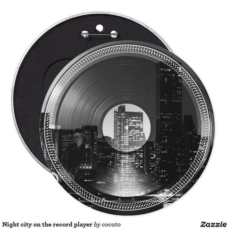 Night city on the record player 15.2cm 丸型バッジ